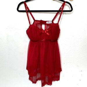 Jezebel red babydoll lingerie top camisole